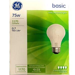 NEW GE 41030 75-Watt 1170-Lumen A19 Basic Light Bulb 4 Bulbs Per Pack