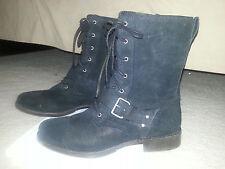 Ugg Marela Combat Boots - 9.5 - Black Suede - Calf Height Shaft