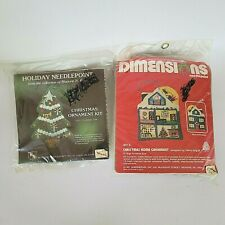 Lot 2 Needlework Christmas Ornament Kits Dimensions, Heirloom, Tree, House