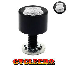 Smooth Black Billet Seat Bolt 96-UP Harley Touring POLICE BADGE - 020