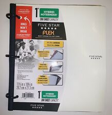 "Five Star 1"" Binder White Hybrid Notebook Flex Paper School Office College"