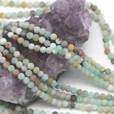 Lot of 5 Strands 88 pcs 4mm Matte Multi-Color Amazonite Round Loose Spacer Beads