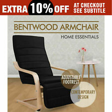 Artiss Bentwood Armchair Adjustable Wooden Recliner Lounge Fabric Cushion Black