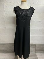 APT 9 Women's Dress A Line 3XL Black Stretch Sleeveless Embellished Knee Length