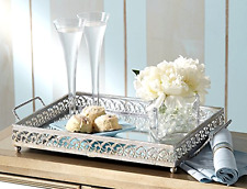 Silver Mirror Vanity Tray Serving Dishes Kitchen Dinnerware Collectible Perfume