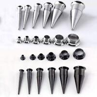 2 in 1 Set Steel Ear Taper Stretcher Tunnels Kit Plugs Expander Gauge Piercing
