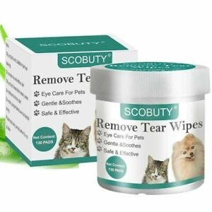 SCOBUTY Eye Natural Tear Stain Remover - Soft Grooming Wipes 130 Pads exp 04/22