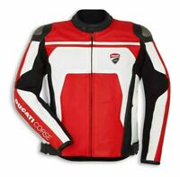 Ducati Corse C4 Red And White Perforated Motorbike Motorcycle Leather Jacket