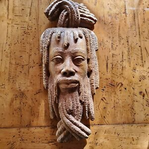 Jamaican Rastafarian Hand Carved Local Jamaican Solid Wood Mask from1985