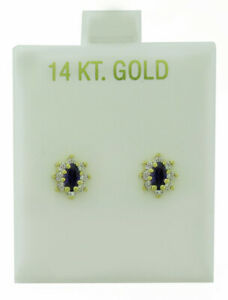 AMETHYST & WHITE SAPHIRES STUD EARRINGS 14K GOLD *** NEW WITH TAG * Screw Backs