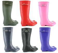 Ladies Girls Coloured Matt Wellies Boots Fashion Festival Wellington size 3-9