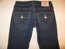 True Religion Jeans Women Billy Slim Straight Leg Flap Pocs Dark Sz 24