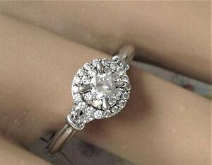 1/2 Carat 14k White Gold Natural DIAMOND Double HALO Engagement  RING