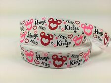 "BTY 7/8"" Valentines Day Minnie Mickey Printed Grosgrain Ribbon Hair Bows Lisa"