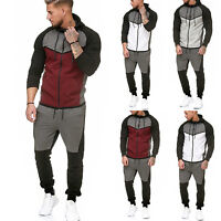 2Pcs Men's Tracksuit Hoodie Sweatshirt Tops Pants Set Joggers Sports Casual Suit
