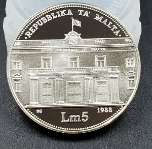 Malta 1988 Silver Coin Proof Lm5 20th Anniversary Central Bank PIEDFORD 2K MADE