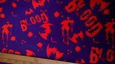 Bats Blood Cotton Fabric on purple background by the metre gothic
