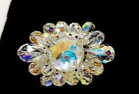 Vintage Aurora Borealis glass beads brooch.