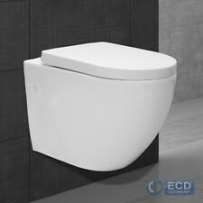 BTW back to wall pan round toilet WC modern soft close seat white hung toilet