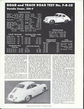 Road & Track Article Reprint from November 1952 -- Porsche Coupe, 356-4 --