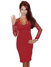 Long Sleeve Lace Midi Bodycon Pencil Dress V Neck Red Size 10