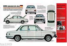BMW 2002tii A4 SPEC SHEET / Brochure: 1971,1972,1973,1974,1975.......2002 tii