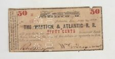 More details for 1862 usa western atlantic railroad r.r. fifty cents note in good fine condition