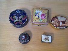 Job Lot Of 5 vintage Trinket Boxes White Metal Ceramic Pill Box Butterfly enamel