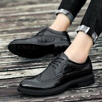 Mens Retro Lace Up Round Toe Shoes Brogue Wing Tip PU Leather Solid Round Toe