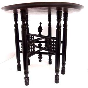 Teetisch Orient Holz schwarz Messing Tablett tea table Beistelltisch Klapptisch
