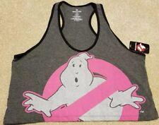 Ghostbusters Movie Womens Crop Tank Top Sleepwear Sleep Shirt Gray Pink Large L