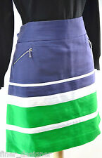AK Anne Klein Cotton Stretch Striped Nautical Navy Green A Line Mini Skirt SZ XL