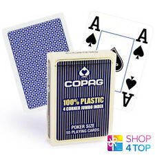 COPAG 4 CORNER 100% PLASTIC POKER PLAYING CARDS CASINO DECK JUMBO INDEX BLUE