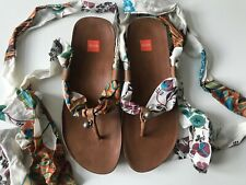 Hardly worn Hugo Boss leather sandals with colourful floral ribbons, size 40