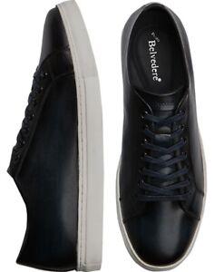 Belvedere Mens Sz 10 D James Navy Blue Leather Sneaker Shoes