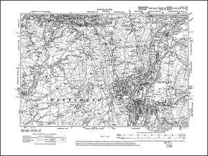 Old map of Mossley, Lees, Hartshead, Lancashire 1910: 97SE repro