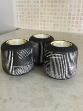 Set Of 3 Tealight Holders Black With White Etched Design