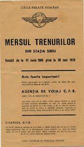 Romania Train Timetable CFR Railway Sibiu Kursbuch Indicateur 1970