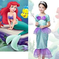 Child Green Little Mermaid Fancy Dress Costume Kids Girls Female 3-10 Years