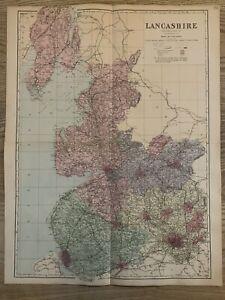 1884 Lancashire Large Antique Hand Coloured Map by Edward Weller, 65 cm x 51 cm