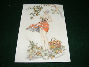 POSTCARD ART E MAUDY PRETTY GIRL SCANTILY CLOTHED PICKING APPLES FRENCH LITHO