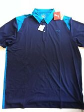 New Puma Men's XL Performance Fit Golf Blocked Polo Blue Shirt Dry Cell