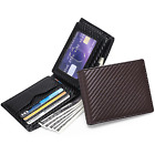 Men Wallet RFID Blocking Carbon Fiber Bifold Credit Card ID Holder