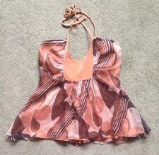 OLGA KAPUSTINA Womens Size 4 Sleeveless 100% Silk Halter Top Shirt Blouse