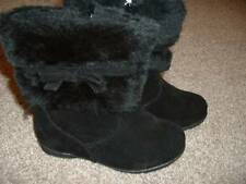 YoKids Girls Black Faux Fur Bow Boots Size 10 Kids 5 yrs NEW Winter Shoes