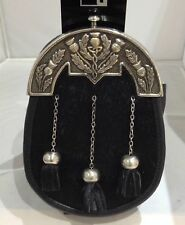 New Mens Scottish Kilt Sporran With Antique Chrome Thistle Cantel (Free Belt)