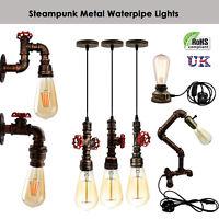 Vintage Industrial Rustic Steampunk Metal Waterpipe Ceiling Wall Table Free Bulb