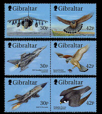 Wings of Prey planes and birds 3 se-tenant pairs mnh 1999 Gibraltar