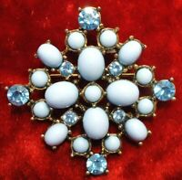 VTG 1960s  BROOCH LUCITE Cabochons Baby Blue RHINESTONES EXCELLENT CONDITION