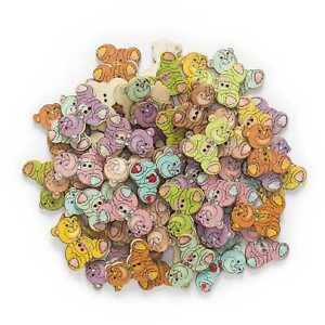 30pcs Bear Wood Buttons for Sewing Scrapbook Clothing Crafts Home Decor 28x24mm